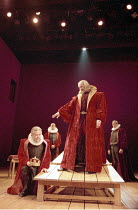 KING LEAR   by Shakespeare   ,design: John Gunter   lighting: Mark Henderson   director: Peter Hall <br>,I/i - front, l-r: David Yelland (Earl of Kent), Alan Howard (King Lear),         rear, l-r: Pet...