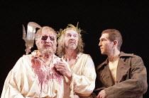 KING LEAR   by Shakespeare   ,design: John Gunter   lighting: Mark Henderson   director: Peter Hall <br>,IV/v - l-r: Denis Quilley (Earl of Gloucester), Alan Howard (King Lear), Greg Hicks (Edgar)   ,...