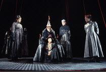 KING LEAR   by Shakespeare   design: Ellen Cairns   director: Yvonne Brewster <br>,l-r: Lolita Chakrabarti (Goneril), Ben Thomas (King Lear), Mona Hammond (Lear's Fool), Cathy Tyson (Regan), Diane Par...