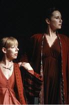KING LEAR   by Shakespeare   design: Richard Hudson   director: Jonathan Miller <br>,l-r: Frances de la Tour (Regan), Gemma Jones (Goneril),The Old Vic, London SE1        28/03/1989,