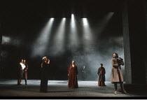 KING LEAR   by Shakespeare   design: Richard Hudson   director: Jonathan Miller <br>,front, l-r: Frances de la Tour (Regan), Gemma Jones (Goneril), Clive Russell (Edmund),The Old Vic, London SE1...