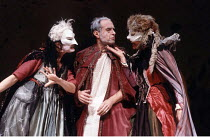 KING LEAR   by Shakespeare   directed by the company<br>,l-r: Maggie Watkiss (Regan), Dave Johnston (Lear), Margret Biereye (Goneril),Footsbarn Travelling Theatre Company / London International Mime F...