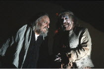 KING LEAR   by Shakespeare   design: Richard Hudson   director: Jonathan Miller <br>,l-r: Eric Porter (Lear), Peter Bayliss (Lear^s Fool),The Old Vic, London SE1        28/03/1989,