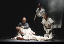 KING LEAR   by Shakespeare   design: Richard Hudson   director: Jonathan Miller <br>,centre: Ian Hogg (Earl of Kent), Eric Porter (Lear), Kim Thomson (Cordelia)   right: Peter Eyre (Edgar),The Old Vic...