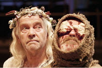 KING LEAR by Shakespeare  design: David Short  lighting: Vince Herbert  fights: Renny Krupinski  director: Gregory Hersov<br> ~l-r: Tom Courtenay (King Lear), David Ross (Earl of Gloucester) ~Royal Ex...