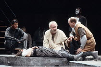 KING LEAR   by Shakespeare   design: Chris Dyer   director: Cicely Berry <br>,front, l-r: James Purefoy (Edgar), Amanda Root (Cordelia), Richard Haddon Haines (Lear), Colin McCormack (Earl of Kent),Ro...