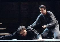 KING LEAR   by Shakespeare   design: Chris Dyer   director: Cicely Berry <br>,l-r: Desmond Barrit (Earl of Gloucester), James Purefoy (Edgar),Royal Shakespeare Company (RSC) / Almeida Theatre, London...
