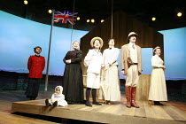 CLOUD NINE   by Caryl Churchill   design: Peter McKintosh   director: Thea Sharrock <br>,l-r: Mark Letheren (Joshua), Joanna Scanlan (Maud), Nicola Walker (Edward), Bo Poraj (Betty), James Fleet (Cliv...
