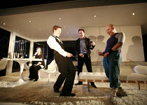 THE ARSONISTS   by Max Frisch   in a new translation by Alistair Beaton   design: Anthony Ward   director: Ramin Gray <br>,putting out a fire with pee-pee - l-r: Jacqueline Defferary (Babette), Benedi...