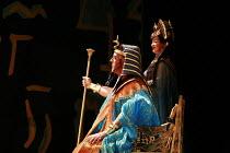 AIDA   by Verdi   conductor: Edward Gardner   design: Zandra Rhodes   director: Jo Davies <br> ,Gwynne Howell (Pharaoh of Egypt), Jane Dutton (Amneris),English National Opera (ENO) / London Coliseum...