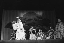 Japanese Noh Theatre - SAGI (The Heron) <br>,front left: Manzaburo Umewaka (Heron) <br>,Umewaka Noh Troupe / World Theatre Season / Aldwych Theatre, London WC2   04/06/1973                       ,