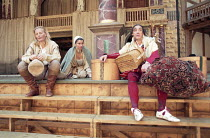 AS YOU LIKE IT   by Shakespeare   design: Bunny Christie   director: Lucy Bailey <br> ~l-r: Anastasia Hille (Rosalind), Tonia Chauvet (Celia), David Fielder (Touchstone) ~Shakespeare's Globe (SG), Lon...