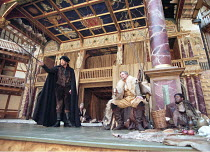 AS YOU LIKE IT   by Shakespeare   design: Bunny Christie   director: Lucy Bailey <br>,front l-r: John McEnery (Jaques), David Rintoul (Duke Senior), Wil Johnson (Amiens),Shakespeare^s Globe (SG), Lond...