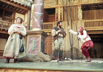AS YOU LIKE IT   by Shakespeare   design: Bunny Christie   director: Lucy Bailey <br>,l-r: Maggie Wells (Audrey), Martin Herdman (William), David Fielder (Touchstone),Shakespeare^s Globe (SG), London...