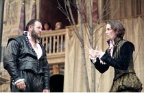AS YOU LIKE IT   by Shakespeare   design: Bunny Christie   director: Lucy Bailey <br>,l-r: Martin Herdman (Charles), Jonathan Bond (Oliver),Shakespeare^s Globe (SG), London SE1    20/05/1998...