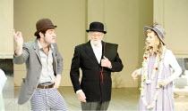 AS YOU LIKE IT   by Shakespeare   design: Katrina Lindsay   director: Samuel West <br>,l-r: Harry Peacock (Touchstone), Patrick Godfrey (Adam), Natalie Grady (Audrey) ,Crucible Theatre / Sheffield, En...