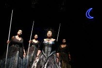 THE MAGIC FLUTE - IMPEMPE YOMLINGO   by Mozart   adapted & directed by Mark Dornford-May <br>,l-r: Tembisa Mlanjeni (3rd Spirit), Lungelwa Mdekazi (2nd Spirit), Pauline Malefane (Queen of the Night),...