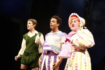 JACK AND THE BEANSTALK   written by Jonathan Harvey   music & lyrics: George Stiles & Anthony Drewe   design: Kenny Miller   director: Giles Havergal ,l-r: Helen Baker (Jack), Ashley Campbell (Mad Mat...