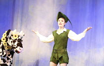 JACK AND THE BEANSTALK   written by Jonathan Harvey   music & lyrics: George Stiles & Anthony Drewe   design: Kenny Miller   director: Giles Havergal ,Helen Baker (Jack) with Daisy the Cow,BITE:07 / B...