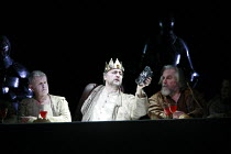 PARSIFAL   by Wagner   conductor: Bernard Haitink   original director: Klaus Michael Gruber <br>,Act I - centre: Falk Struckmann (Amfortas)   right: John Tomlinson (Gurnemanz),The Royal Opera (RO) / C...