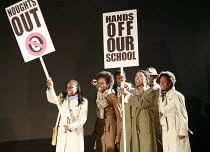 NOUGHTS & CROSSES   adapted and directed by Dominic Cooke   from the novel by Malorie Blackman   ,design: Kandis Cook   lighting: Wolfgang Gobbel <br> ,school protest,Royal Shakespeare Company (RSC) /...