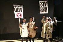 NOUGHTS & CROSSES   adapted and directed by Dominic Cooke   from the novel by Malorie Blackman   design: Kandis Cook   lighting: Wolfgang Gobbel <br> ,school protest,Royal Shakespeare Company (RSC) /...