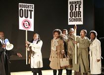 NOUGHTS & CROSSES   adapted and directed by Dominic Cooke   from the novel by Malorie Blackman   design: Kandis Cook   lighting: Wolfgang Gobbel <br> ,school protest - far left: Tyrone Huggins (Mr Cor...