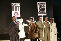 NOUGHTS & CROSSES   adapted and directed by Dominic Cooke   from the novel by Malorie Blackman   design: Kandis Cook   lighting: Wolfgang Gobbel <br> ,school protest - front left: Tyrone Huggins (Mr C...