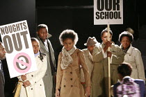 NOUGHTS & CROSSES   adapted and directed by Dominic Cooke   from the novel by Malorie Blackman   design: Kandis Cook   lighting: Wolfgang Gobbel <br> ,school protest ,Royal Shakespeare Company (RSC) /...