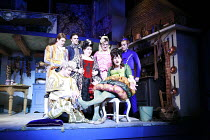 CINDERELLA   by Stephen Fry   music: Anne Dudley   design: Stephen Brimson Lewis   director: Fiona Laird <br>,trying the slipper - l-r: (kneeling) Daniel Robinson (Herald), Oliver Chopping (Dandini),...
