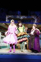 CINDERELLA   by Stephen Fry   ,music: Anne Dudley   design: Stephen Brimson Lewis   director: Fiona Laird <br>,Ugly sisters - l-r: Hal Fowler (Gabbana), Mark Lockyer (Dolce) with Sandi Toksvig (Narrat...