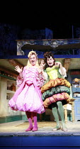 CINDERELLA   by Stephen Fry   ,music: Anne Dudley   design: Stephen Brimson Lewis   director: Fiona Laird <br>,Ugly sisters - l-r: Hal Fowler (Gabbana), Mark Lockyer (Dolce),Old Vic Theatre (OV), Lond...