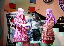 CINDERELLA   book & lyrics: Trish Cooke   music & lyrics: Robert Hyman   director: Kerry Michael <br>,l-r: Catherine Millsom (Spicy), Debbie Korley (Cinderella), Sharona Sassoon (Sugary),Theatre Royal...