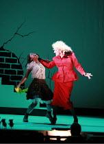 CINDERELLA   book & lyrics: Trish Cooke   music & lyrics: Robert Hyman   director: Kerry Michael <br>,Debbie Korley (Cinderella), Michael Bertenshaw (Woz Mine-Izzmine),Theatre Royal, Stratford E15...