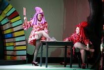 CINDERELLA   book & lyrics: Trish Cooke   music & lyrics: Robert Hyman   director: Kerry Michael <br>,Sugary prepares to chop off her toes to fit the slipper - l-r: Sharona Sassoon (Sugary), Catherine...