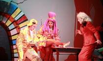 CINDERELLA   book & lyrics: Trish Cooke   music & lyrics: Robert Hyman   director: Kerry Michael <br>,Sugary tries on the slipper - l-r: Marcus Ellard (Don Dini), Sharona Sassoon (Sugary), Michael Ber...
