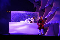 THE SNOWMAN   based on the story by Raymond Briggs   music & lyrics: Howard Blake   design: Ruari Murchison   director: Bill Alexander <br>,Snowman chills out in the deep freezer with Aedan Day as 'Th...