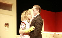 ABSURD PERSON SINGULAR   by Alan Ayckbourn   design: Michael Pavelka   director: Alan Strachan <br>,Jane Horrocks (Jane Hopcroft), David Bamber (Sidney Hopcroft),Garrick Theatre, London WC2...