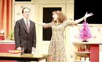 ABSURD PERSON SINGULAR   by Alan Ayckbourn   design: Michael Pavelka   director: Alan Strachan <br>,David Bamber (Sidney Hopcroft), Lea Williams (Eva Jackson),Garrick Theatre, London WC2...