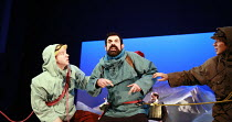 HERGE'S ADVENTURES OF TINTIN   by Herge   dramatised by Rufus Norris & David Greig   director: Rufus Norris ~,l-r: Matthew Parish (Tintin), Stephen Finegold (Captain Haddock), Dai Tabuchi (Tharkey)...