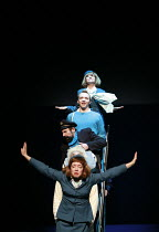 HERGE'S ADVENTURES OF TINTIN   by Herge   ,dramatised by Rufus Norris & David Greig   director: Rufus Norris ~,from top: Nina Kwok (air hostess), Matthew Parish (Tintin), Stephen Finegold (Captain Had...