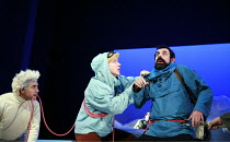 HERGE'S ADVENTURES OF TINTIN   by Herge   dramatised by Rufus Norris & David Greig   director: Rufus Norris <br>,l-r: Miltos Yerolemou (Snowy), Matthew Parish (Tintin), Stephen Finegold (Captain Haddo...