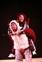 ANANSI TRADES PLACES   written by Trish Cooke   director & choreographer: Paul J Medford <br>,Dermot Daly (Dog), Shyko Amos (Omari),Talawa Theatre Company / Shaw Theatre, London NW1       13/12/2007...