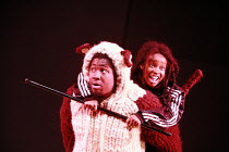 ANANSI TRADES PLACES   written by Trish Cooke   director & choreographer: Paul J Medford <br>,l-r: Dermot Daly (Dog), Shyko Amos (Omari),Talawa Theatre Company / Shaw Theatre, London NW1       13/12/2...