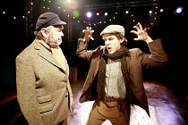 THE WINTER^S TALE   by Shakespeare   director: Phil Willmot <br>,l-r: Robert Donald (An Old Shepherd), Andrew Venning (A Young Shepherd),The Courtyard Theatre, Hoxton, London N1                  20/12...