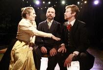 THE WINTER^S TALE   by Shakespeare   director: Phil Willmot <br>,l-r: Natasha Seale (Hermione), Gwilym Lloyd (Leontes), Simon de Deney (Polixenes),The Courtyard Theatre, Hoxton, London N1...