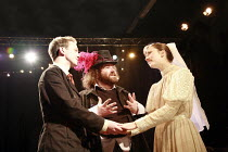 THE WINTER^S TALE   by Shakespeare   director: Phil Willmot <br>,l-r: Mathew Judd (Florizel), Phil Sealey (Autolycus), Amber Tibbitts (Perdita),The Courtyard Theatre, Hoxton, London N1...