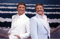 LA CAGE AUX FOLLES   music: Jerry Herman   book: Harvey Fierstein ,based on the play by Jean Poiret   director: Arthur Laurents <br>,l-r: George Hearn (Albin), Denis Quilley (Georges),London Palladium...