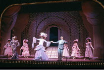 LA CAGE AUX FOLLES   music: Jerry Herman   book: Harvey Fierstein   based on the play by Jean Poiret   director: Arthur Laurents <br>,front right: Denis Quilley (Georges),London Palladium, London W1...