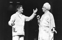 LA CAGE AUX FOLLES   music: Jerry Herman   book: Harvey Fierstein   based on the play by Jean Poiret   director: Arthur Laurents <br>,l-r: Denis Quilley (Georges), George Hearn (Albin),London Palladiu...